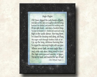 High Flight - 11x14 Word Art Print - Beautiful Quote by John Gillespie Mcgee, Jr - Soaring, flight, death, life, remembrance -ready to frame