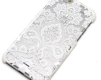 White Paisley Damask Floral Transparent Clear Phone Case iPhone 6, iPhone 7, iPhone SE, 6 Plus, iPhone 7 Plus, iPhone 6S, 5, 5C, 5S, Galaxy