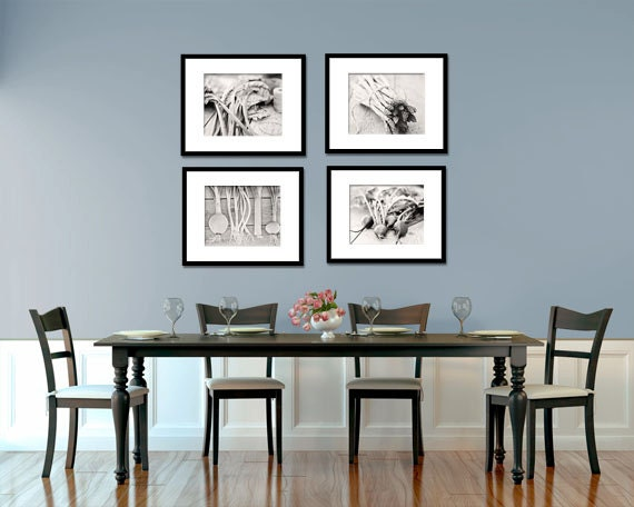 Food Photography Kitchen Art Vegetables BW Set Of Four
