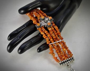 Coral Cross Bracelet