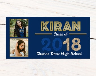 Class of 2018 Graduation Photo Banner ~ Congrats Grad Personalized Party Banners -School Colors Graduation Banner, Golden Scholar Banner