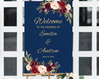 Wedding Welcome Sign, Navy Welcome Sign Template, Printable Wedding Reception Sign, Burgundy, Marsala, #A033, INSTANT DOWNLOAD, Editable PDF