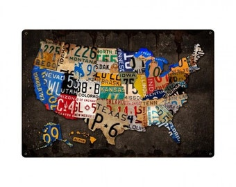 """USA license plate map all 50 states, 36"""" X 24"""" vintage wall art, license plate art, garage decor,"""