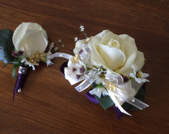 Ivory Rose or Purple Rose Wrist Corsage and Boutonniere Combination / Wedding Corsage and Boutonniere / Prom Corsage and Boutonniere