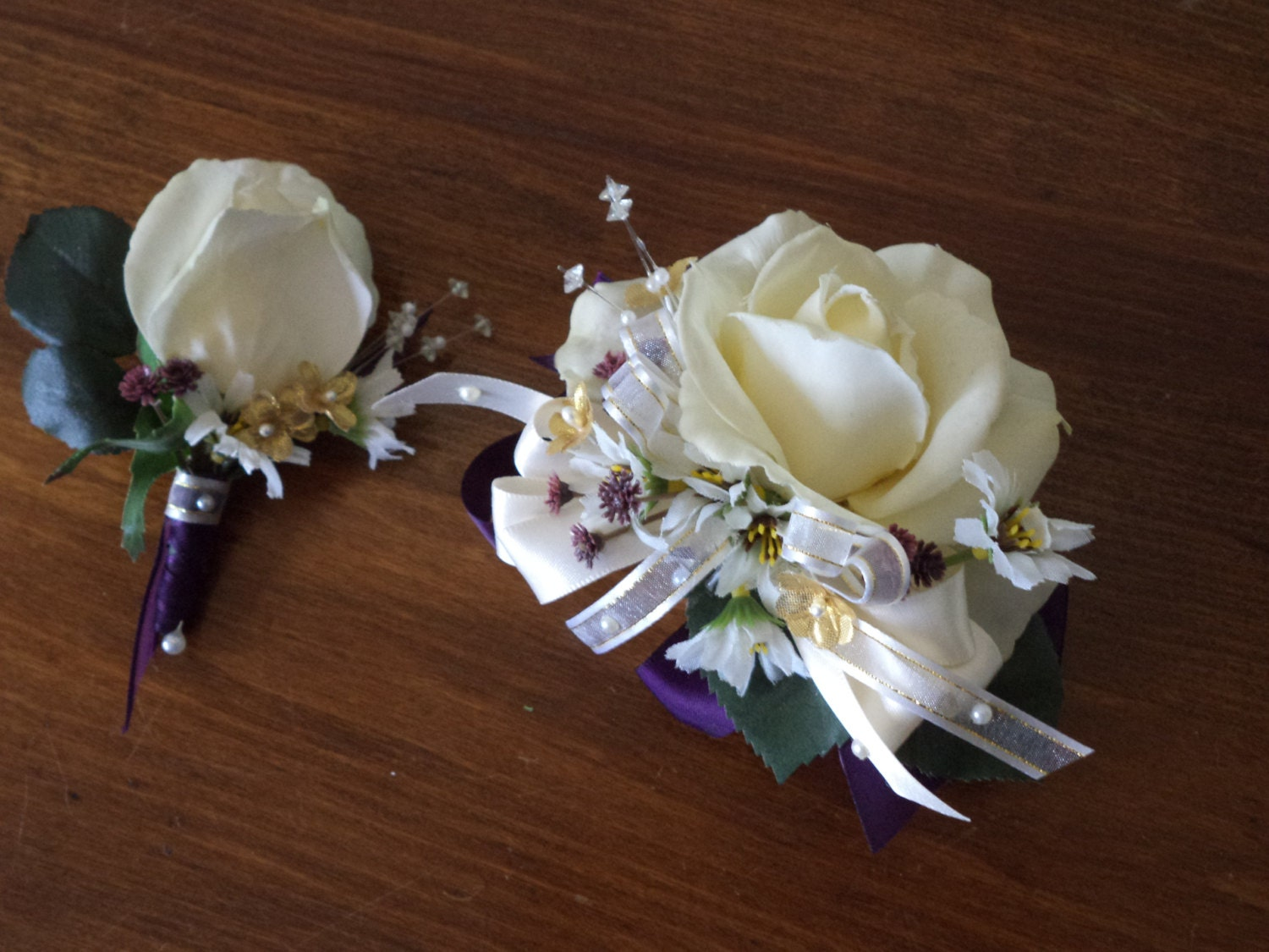 Ivory Rose Or Purple Rose Wrist Corsage And Boutonniere