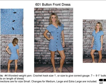 Front Button Dress Crochet Pattern   601
