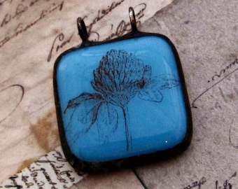 Clover Blossom Pendant | Stained Glass Pendant | Nature Jewelry | Eclectic Necklace | Gift Under 25 | Jewelry for Women | Blue Pendant