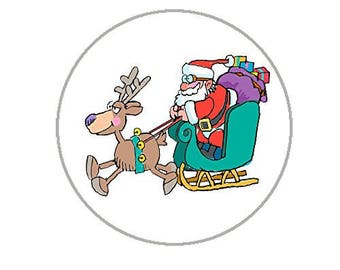 "Christmas Envelope Seals - 1.2"" Christmas Stickers - 96 Fun Holiday Stickers (Santa Sleigh) - 25154"