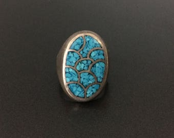 Vintage Southwestern Sterling Silver Turquoise Ring Size 7.25