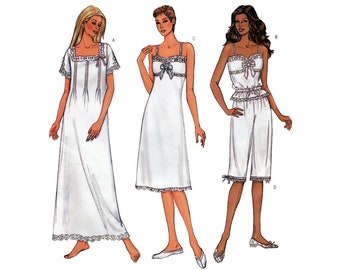 Women's Nightgown, Pajama Top and Bloomer Style Pants Pattern, Misses Size 12-14-16 Bust 36-38-40 UNCUT Butterick 3612