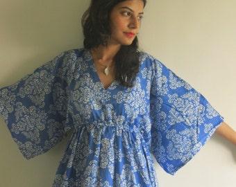Butterfly Sleeves Empire Waist Damask Kaftan Dress Summer Dress, Long Maxi, loungewear, beachwear, Maternity Dress, Holiday Vacation Wear
