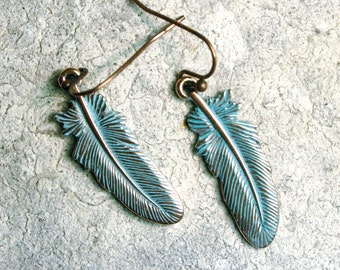 Feather Earrings, Patina earrings, Nature Earrings, Patina Copper Jewelry, Feather Jewelry, Boho Earrings, Antiqued Jewelry, Patina Jewelry