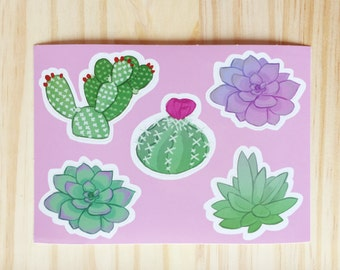 Succulents and Cacti Cactus Sticker Set