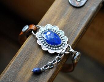 Sterling Silver Lapis Lazuli Bracelet, Lapis Leather Bracelet, Oxidised Silver Studded Gemstone Leather Bracelet