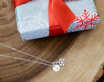 Sterling Silver Snowflake Necklace -Snow Flake Charm Necklace, Personalized Necklace, Personalized Snowflake,Initial Necklace,Christmas Gift