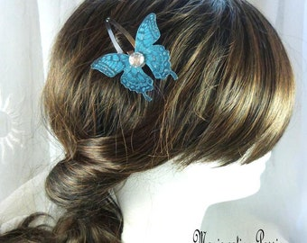 "claw clip metal butterfly wings silk turquoise heart half Pearl silver rhinestone ""Ylona"", Ombre, spring, made in France"