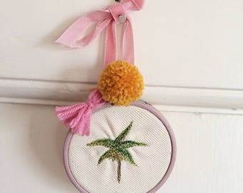 Embroidered Palm Tree Decorative Hoop with Pom Pom and Tassel
