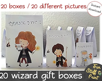 Wizard party favor bags for wizards and Harry Potter fans  « Thank you » - Favor box, gift box, birthday party - Instant Download.