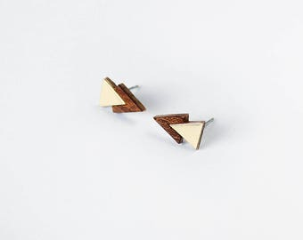 Double triangle marquetry earrings mahagony wood and gold color brass