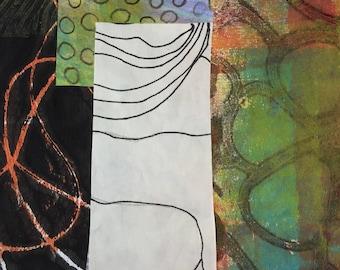Méandres - Collage avec papiers 5 x 5 sur 8 x 10 support peint