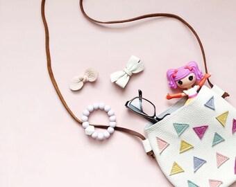 Leather kids purse   confetti