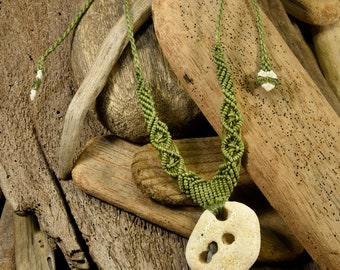 Fossil Coral Necklace, Micro Macrame, Beach Finds, Beach Treasures