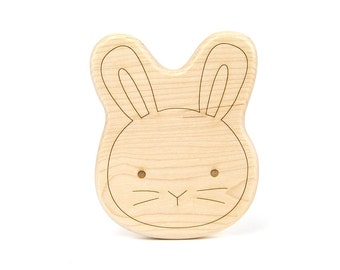 Bunny Toy Wooden Teether -  Easter Bunny - Easter Basket - Baby Gift