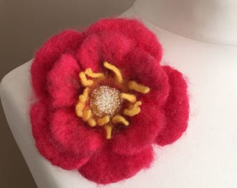 Needle Felted Brooch   Merino Wool Brooch  Felted Flower Style Brooch  Pin