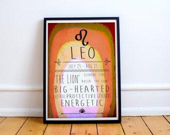 Leo - Zodiac Star Sign Typography Print - Colourful - Birthday - Starsigns - Birthdate - Astrology - Horoscopes - Star-signs