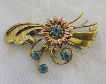 Gold Filled Brooch,Blue Rhinestones, Harry Iskin 1940s Pin, Designer signed Jewelry