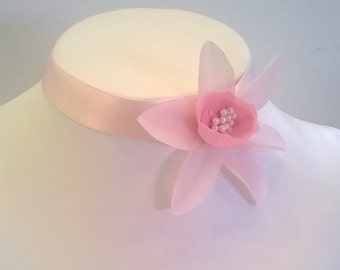 Light Pink 100% Silk Choker - Genuine Silk Ribbon with Handcrafted Silk Flower - Bridal, Bridesmaid, Wedding, Prom, Pageant Choker Necklace