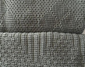 "Knitted Throw Blanket, ""Medium Gray"""