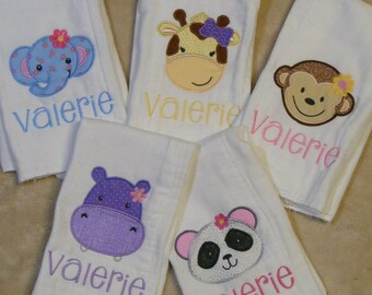 Personalized Zoo Animals Faces Burp Cloth or Bib Singles for Girls