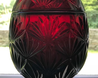Vintage  Ruby Red Glass Egg Candy Dish is made by Cristal D' Arques Luminarc France