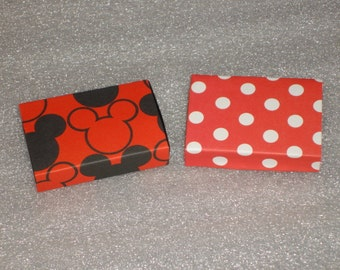 Set of 12 Minnie or Mickey Mouse  Match Box Favors for  Birthdays, Baby Showers