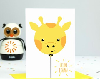 Personalised New Baby Card // New Baby Card // New Baby // Baby Boy // Baby Girl // Giraffe Balloon