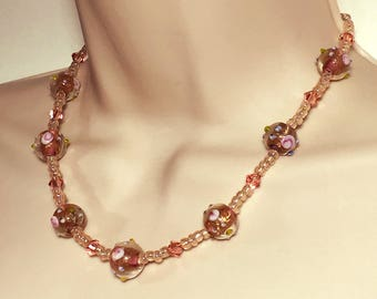 Vintage-Style Pale Pink Beaded Necklace with Lampwork Beads