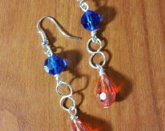 Blue and orange dangle earrings. Go bears!