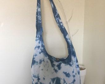 Indigo Shibori boho sling bag