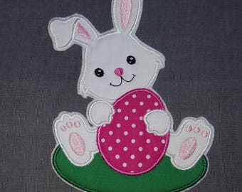 5x7 White Bunny With Pink Egg Easter Bunny Iron on No Sew Embroidered Patch Applique