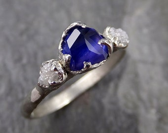 Partially faceted Sapphire Diamond 14k White Gold Engagement Ring Wedding Ring Custom One Of a Kind blue Gemstone Ring Multi stone Ring 1179