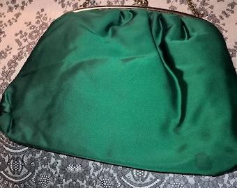 Emerald green Vintage Satin Purse Evening Bag
