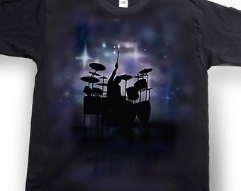 Airbrushed Drummer T-shirt Drum Kit Percussionist Tee Shirt in all sizes