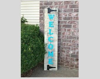 Rustic Wood Welcome Sign, Welcome Sign, Front Door Welcome Sign, Vertical Welcome Sign, Welcome Sign Porch, Large Welcome Sign, Home Decor