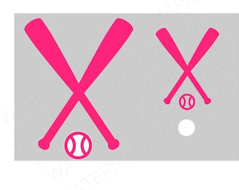 Pink Baseball Softball SVG & Studio 3 Cut File Stencil Decal Files Logo for Silhouette Cricut SVGS Cutouts Baseball Bat Decals