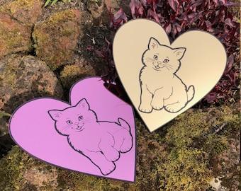 Laser Cut Gold Kitten Heart Mirror