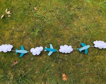 Cloud and plane garland • time flies • airplane nursery • felt garland • party decor • nursery decor • puff clouds • photo prop
