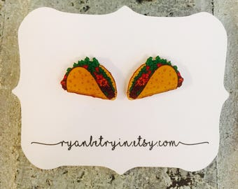 Taco Stud Earrings - Taco Tuesday - Taco Lover - Taco Bout It - Taco Studs - Taco Earrings - Food Junkie - Funny Gift - Mexican Food