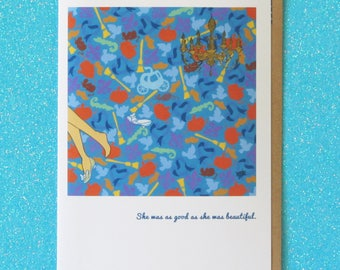 CINDERELLA cinderella's escape.  blank interior greeting card for any fairy tale princess or brave adventuress.