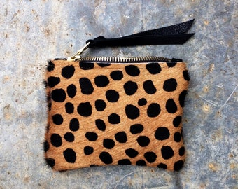 Hair on hide coin purse. Animal print coin purse